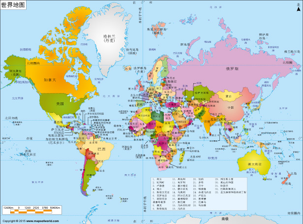 World Map in Chinese