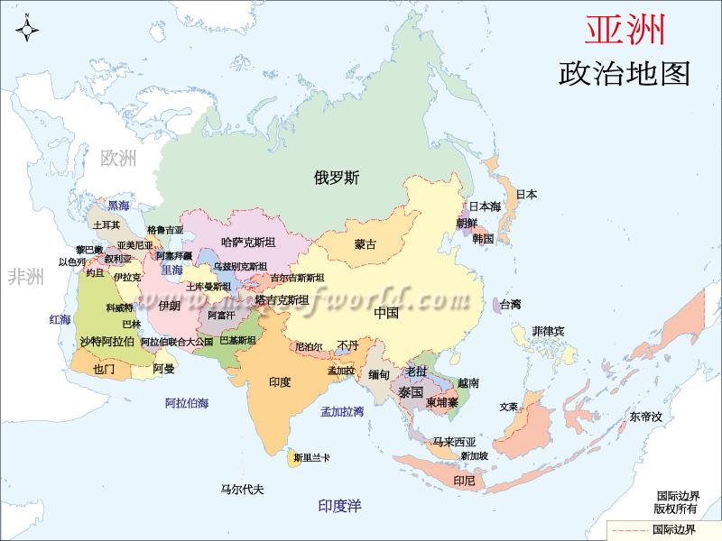 亚洲地图 亚洲地图