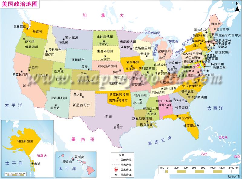美国政治地图