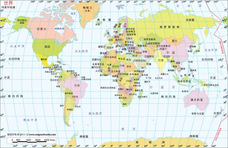 世界纬度经度地图